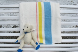 White Blanket With Border Stripe
