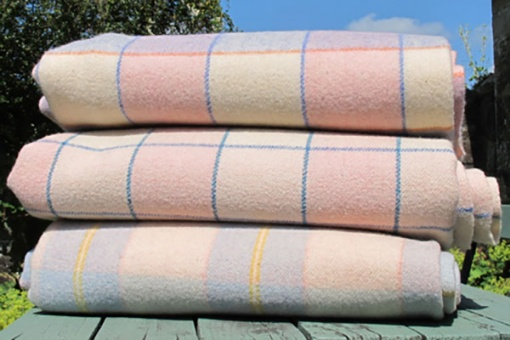 Baby blue and pale pink soft pastel blanket - stack