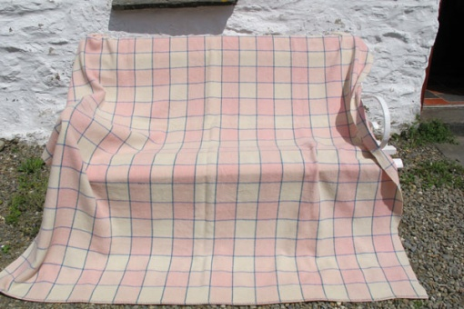 pink and white blocks blanket
